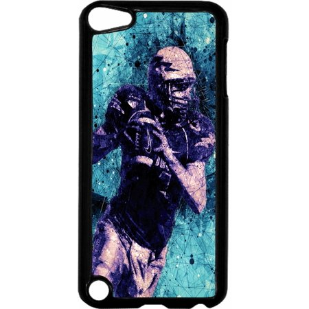 - Football Player   - Hard Black Plastic Case Compatible with the Apple iPod Touch 6th Generation - iTouch 6 Universal