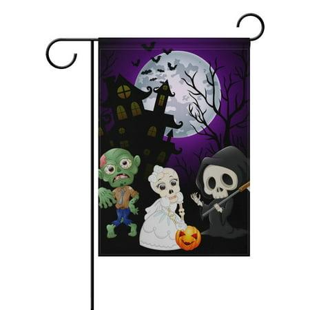 Halloween Party Six Flags (POPCreation Halloween Zombie Moon Night Polyester Garden Flag Outdoor Flag Home Party Garden Decor 28x40)