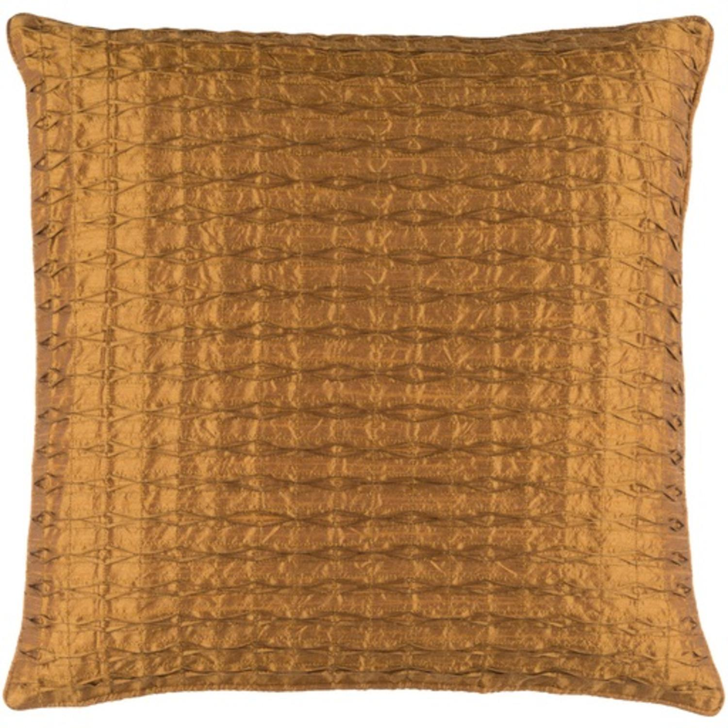 "18"" Decorative Golden Quilted Linens Throw Pillow"