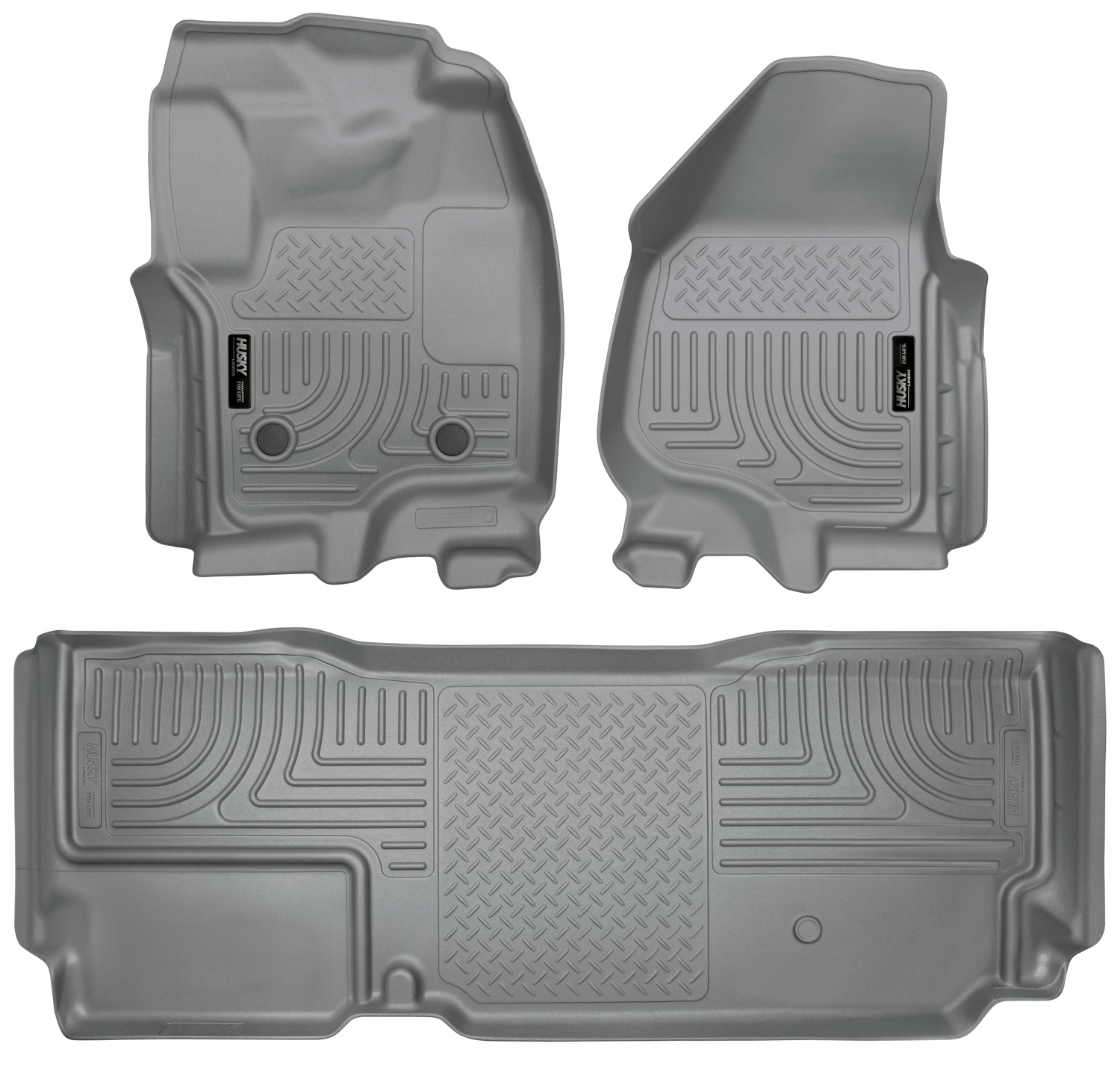 Husky Liners 2012.5 Ford SD Super Cab WeatherBeater Combo Gray Floor Liners (w/o Manual Trans Case)