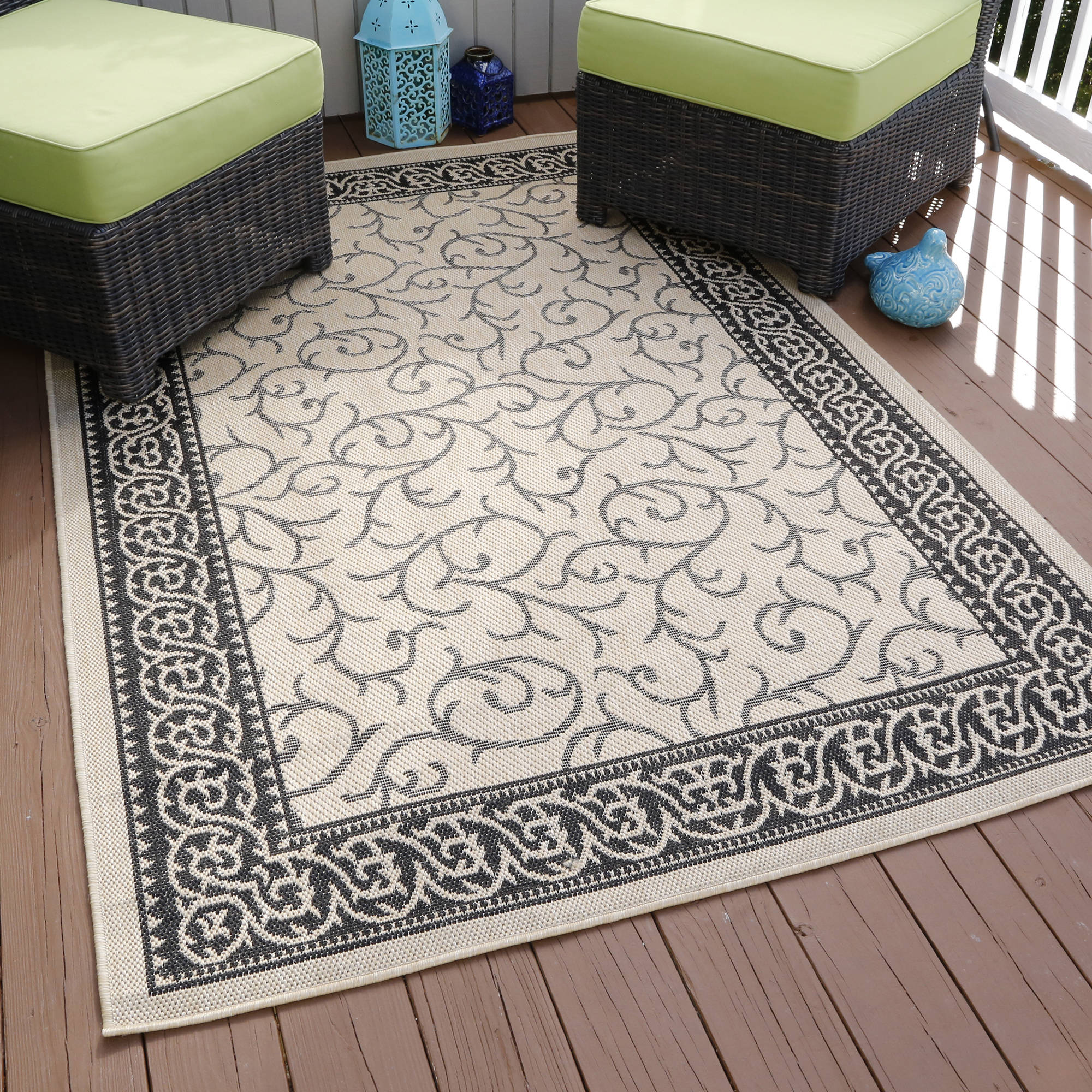 Somerset Home Ornate Vine Indoor/Outdoor Area Rug, Cream, 5' x 7'7""