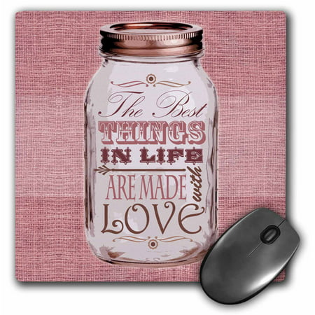 3dRose Mason Jar on Burlap Print Pink - The Best Things in Life are Made with Love - Gifts for the Cook, Mouse Pad, 8 by 8