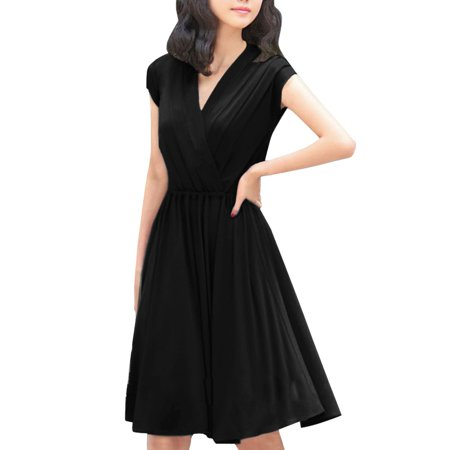 Women's Cinched Waist Cross V Neck Dress Black (Size L / 12) Banded Waist V-neck Dress