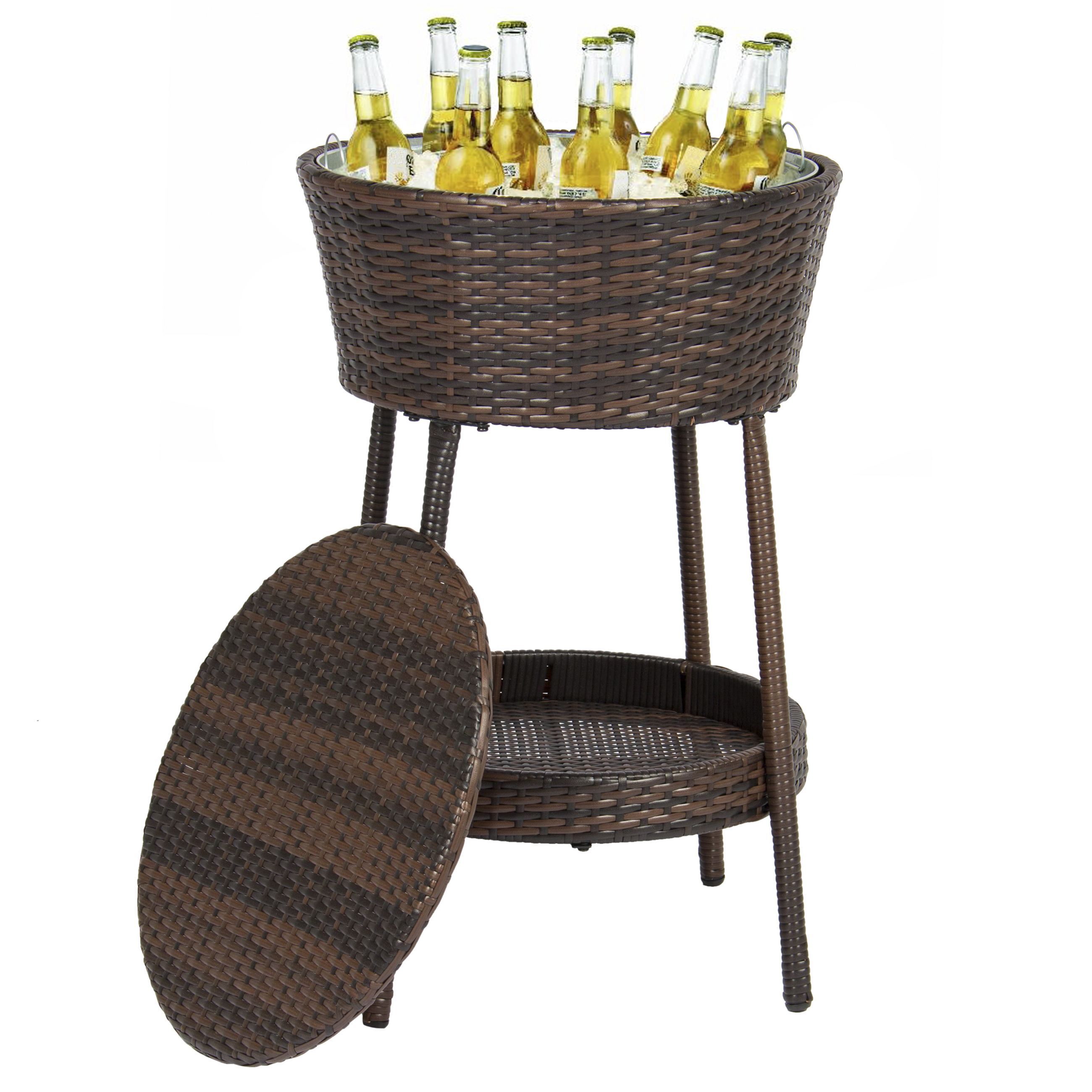 Best Choice Products Wicker Ice Bucket for Outdoor Patio w/ Tray, Removable Cover Patio Furniture - Brown