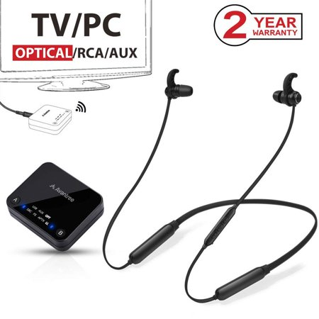 2018 Avantree HT4186 Wireless Neckband Headphones Earbuds for TV Watching & PC with Bluetooth Transmitter Set, for Optical Digital Audio, RCA, 3.5mm AUX Ported TVs, Plug & Play, No Delay, Long Range
