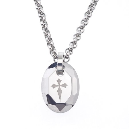 mens tungsten and steel engraved cross oval necklace