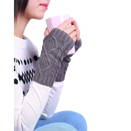HDE Women's Fingerless Gloves Crochet Cable Knit Wrist, Hand, and Arm Warmers - image 2 de 5
