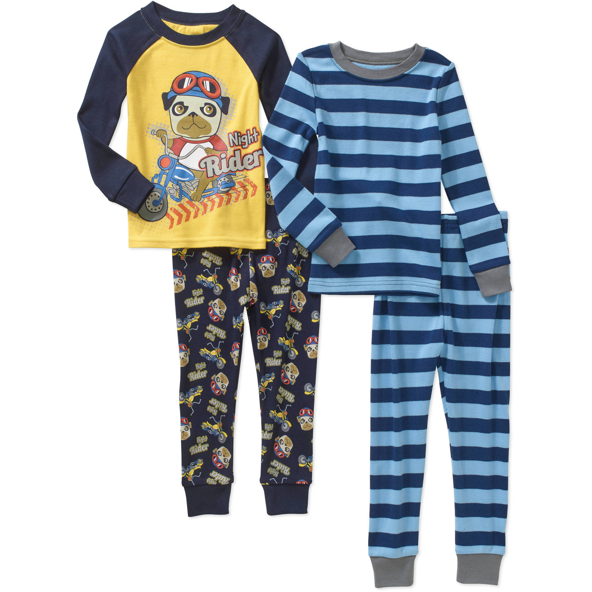 Toddler Boy Cotton Tight Fit Pajamas, 4-piece set