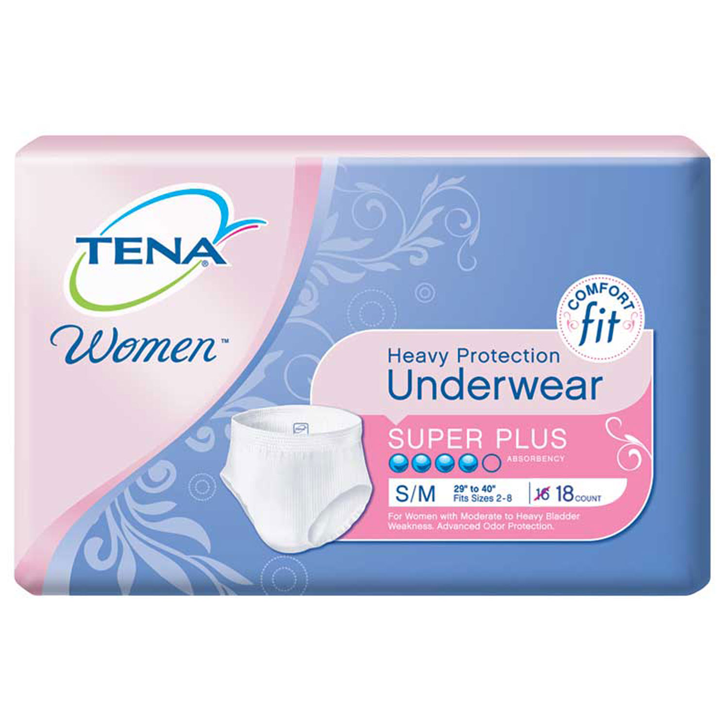 Tena Incontinence Underwear, Protective, Small/Medium, 18 Ct