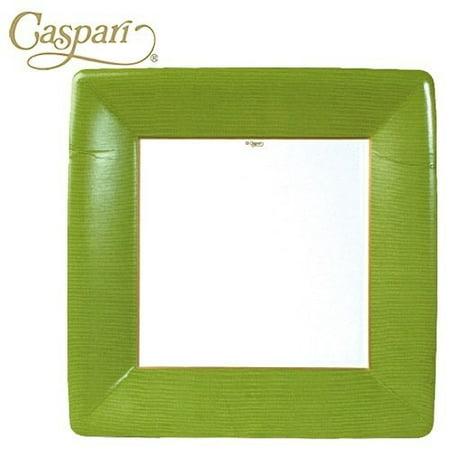 Paper Plates Grosgrain Moss Green Border Square Dinner Plates