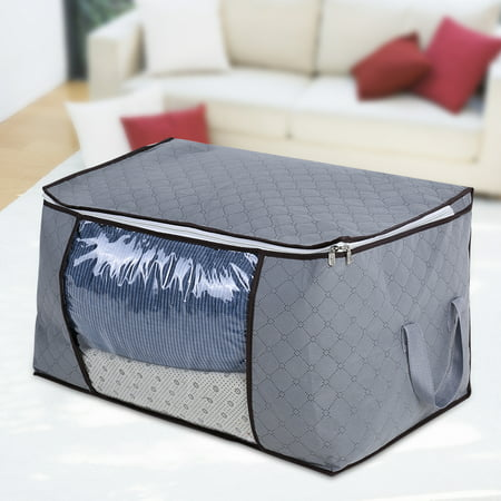 Bamboo Carbon Fibre Storage Bag with Zipper, Large, Durable, Foldable, for Clothes / Quil, Large,Storage - Bam Bamboo