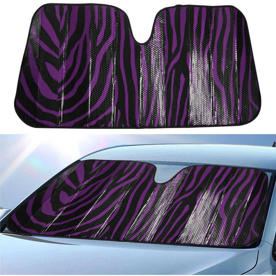 BDK Zebra Print Sun shade, Folding Accordion with Anti-Glare Windshield Shade for Car, SUV, Van