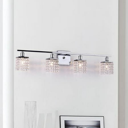 Eurofase Lighting Crystal Sconce - The Lighting Store Four-light Chrome/ Crystal Wall Sconce