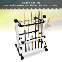 HERCHR Lightweight Fishing Rod Pole Holder Stand Organizer Rack For 12 Rods, Fishing Rods Stand, Fishing Rod Holder