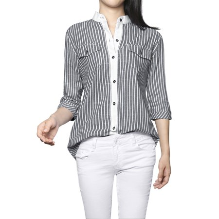 3/4 Cuff Sleeve Shirt - Women's Cuffed 3/4 Sleeves Stand Collar Button Business Striped Shirt Blouse Tops Dark Blue XL (US 18)