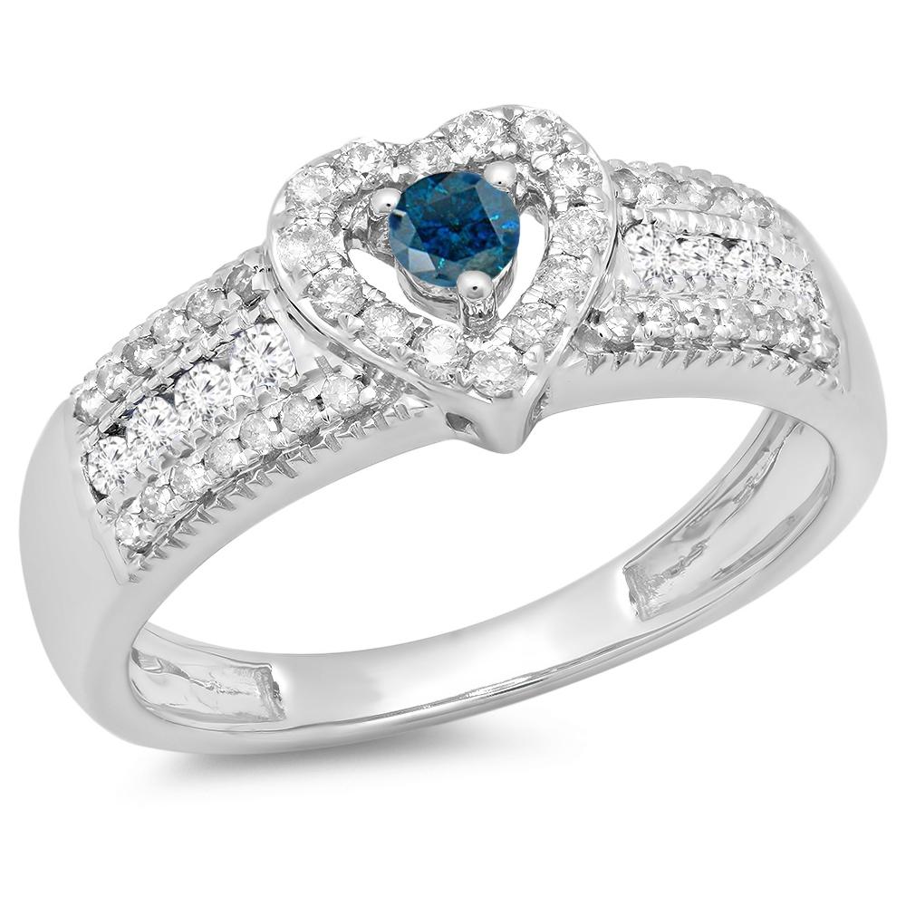 0.55 Carat (ctw) 14K White Gold Round Cut Blue & White Diamond Ladies Bridal Heart Shaped Promise Engagement Ring 1/2 CT