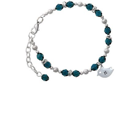Silvertone Little Bird Initial - N - Navy Blue Beaded Bracelet