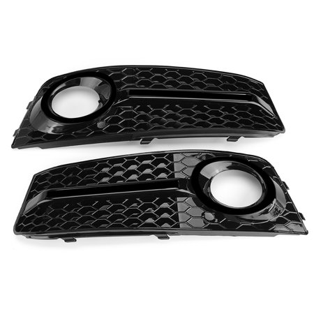 Pair Glossy Standard Style Fog Light Cover Grille Grill Fit 09-11 Audi A4 B8 - image 7 de 9