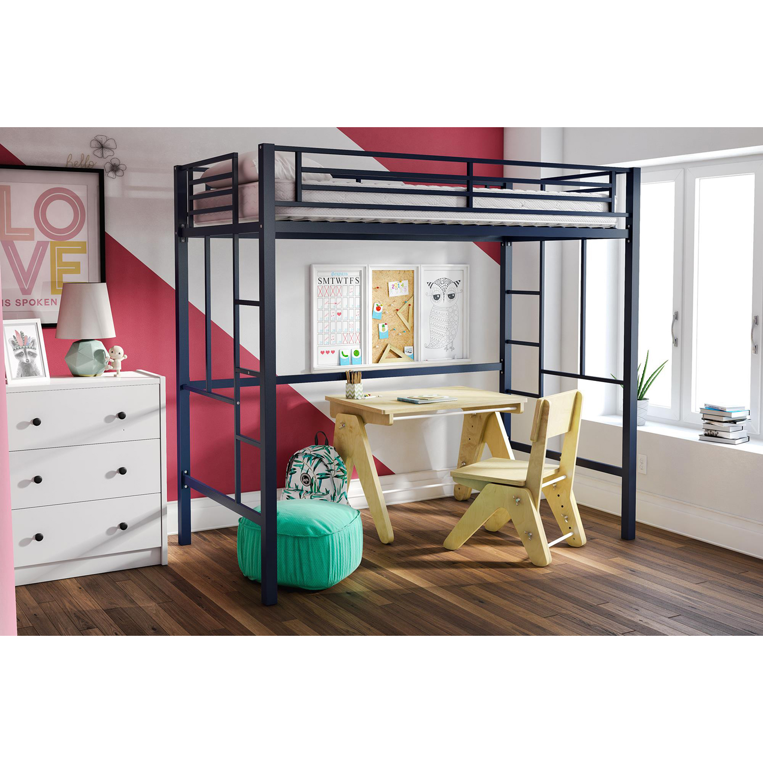 YourZone Metal Loft Bed, Twin Size, Multiple Colors