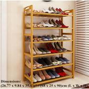 Zimtown 6 Tier Natural Wood Bamboo Shelf Entryway Storage Shoe Rack Home Furniture