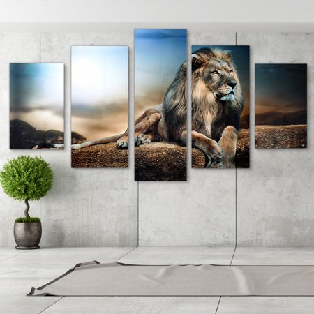 Art Decoration Abstract Oil Painting (Sitting Lion 5Pcs/set Canvas Wall Art Modern Abstract Print Art Oil Painting Picture Home Decoration)