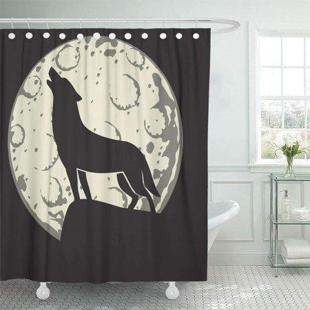 PKNMT Full Silhouette of Wolf in The Moonlight Moon Cartoon Halloween Howling Alertness Waterproof Bathroom Shower Curtains Set 66x72 inch (The Wolf Halloween Howl)