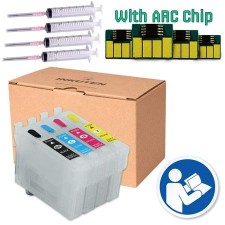 4 Cartuchos Recargables (Vacios) para Epson 252, T252 Con chip de reseteo automatico (ARC) Compatible en impresoras epson WorkForce WF-3620, WF-3640, WF-7110, WF-7610, - Printer Chip