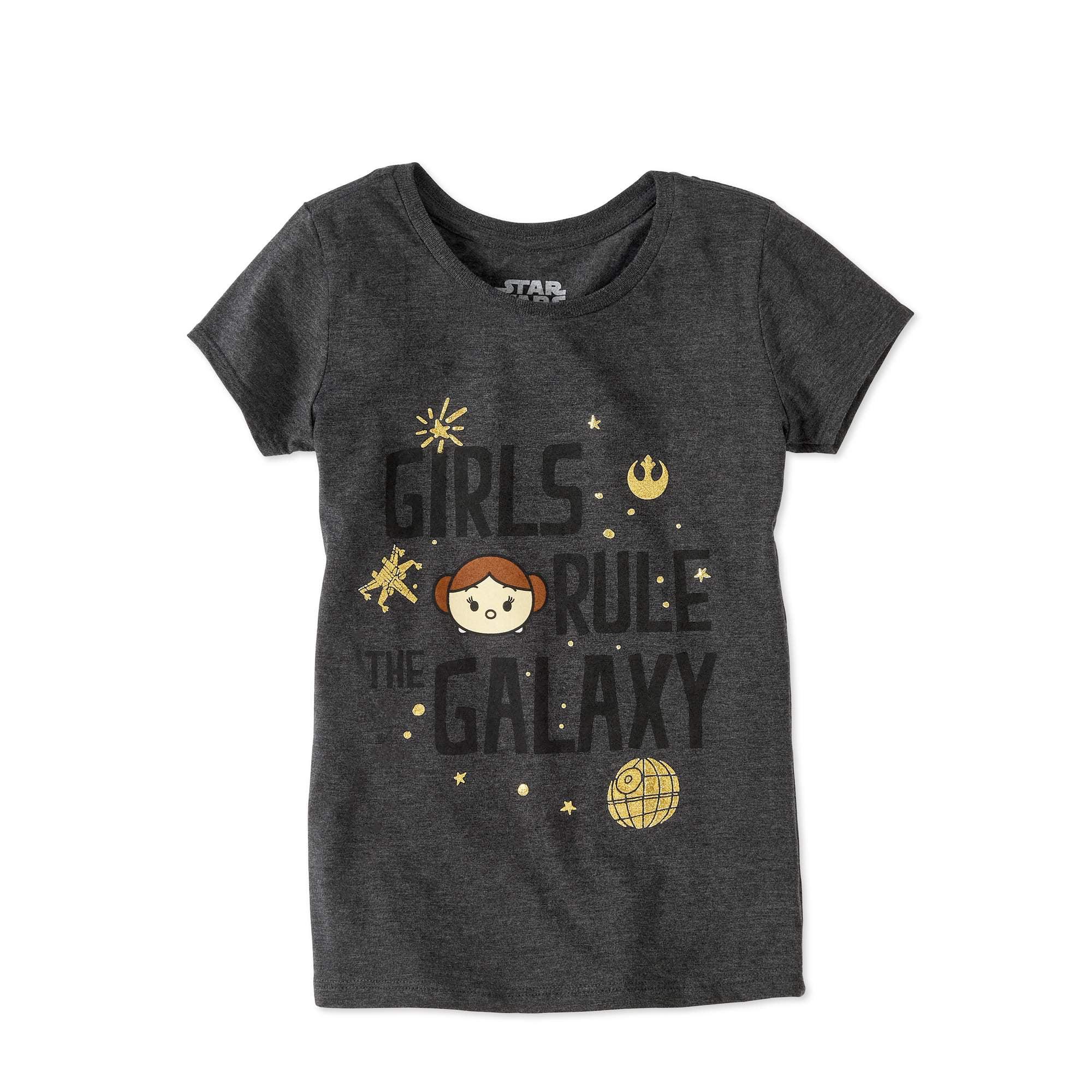 "Tsum Tsum Star Wars Girls' Princess Leia ""Girls Rule the Galaxy"" Graphic T-Shirt"