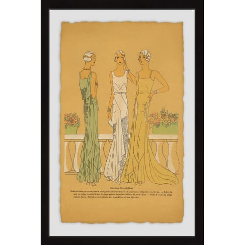"""Marmont Hill MH-VINFAS-49-BFPFL-24 24 Inch x 16 Inch """"Evening Gowns"""" Framed Giclee Painting on Paper"""