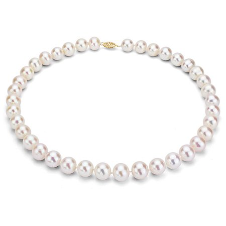 ADDURN 8-9mm White Freshwater Pearl Necklace with 14kt Fishhook Clasp, 18""