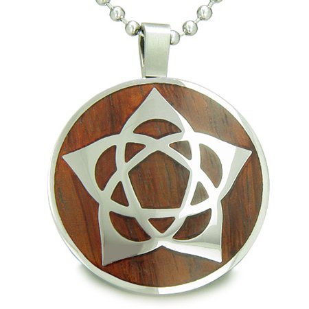 Flower Of Life Wiccan Pentacle Star Cherry Wood Amulet Pendant 22 Inch Necklace