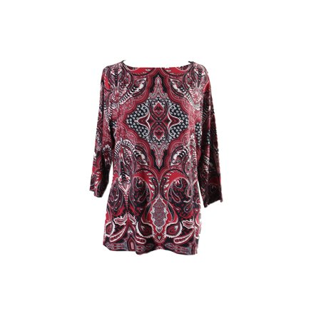 Charter Club Plus Size Red Multi Printed Boat-Neck Top 1X