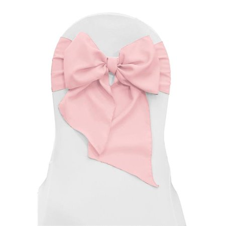 LA Linen TCpop8x108-Pk10-PinkLgtP37 Polyester Poplin Chair Bows, Light Pink - 8 x 108 in. - Pack of 10 - image 1 of 1