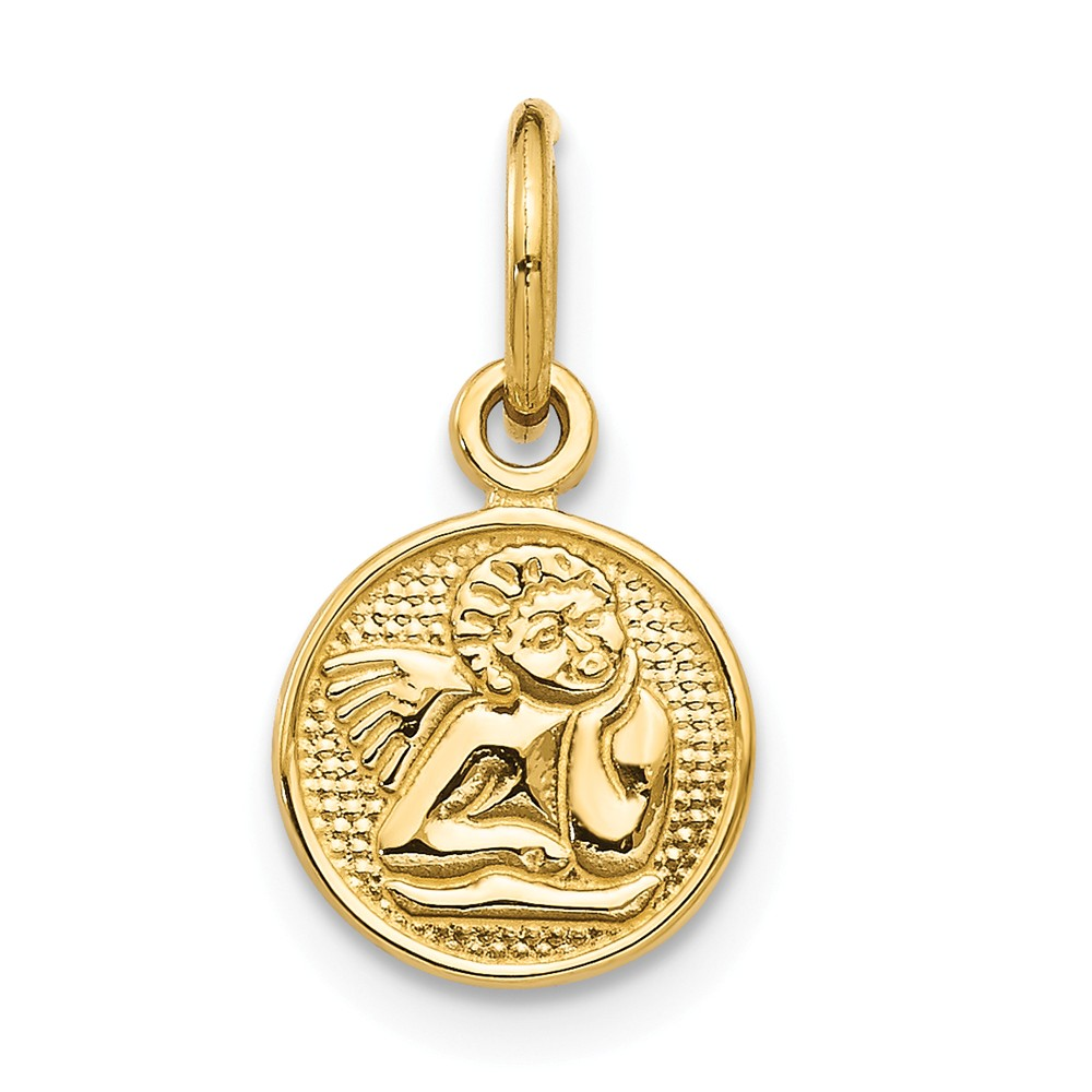 14k Yellow Gold Small Polished Angel Charm (0.6in long x 0.5in wide)