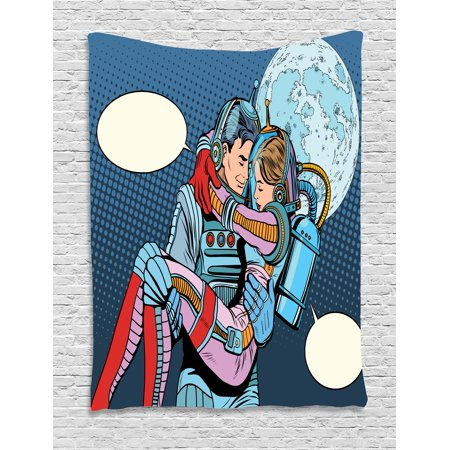 Romantic Tapestry, Astronaut Couple in Love Valentines Day Celestial Sci Fi Comic Pop Art Marriage, Wall Hanging for Bedroom Living Room Dorm Decor, 40W X 60L Inches, Multicolor, by