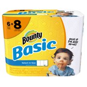Bounty Basic Select-A-Size Paper Towels, White, 6 Big Rolls = 8 Regular Rolls