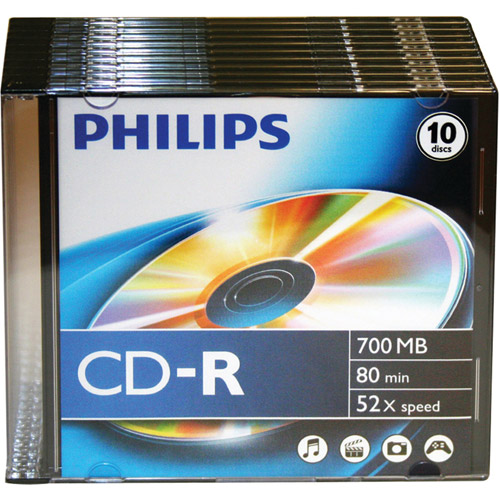 Philips CDR80D52N/300 700MB 52x CD-Rs with Slim Jewel Cases, 10pk