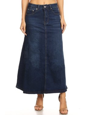 676e3ee9f9c Product Image Women s Plus Junior size Mid Rise A-Line Long Jeans Maxi Denim  Skirt