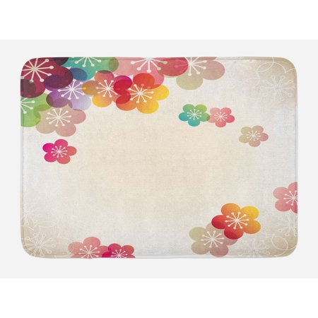 Floral Bath Mat, Abstract Cartoon Like Contemporary Japanese Asian Art Flowers Ombre Colored Image, Non-Slip Plush Mat Bathroom Kitchen Laundry Room Decor, 29.5 X 17.5 Inches, Multicolor, Ambesonne