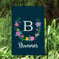 Floral Wreath Personalized Navy Garden Flag