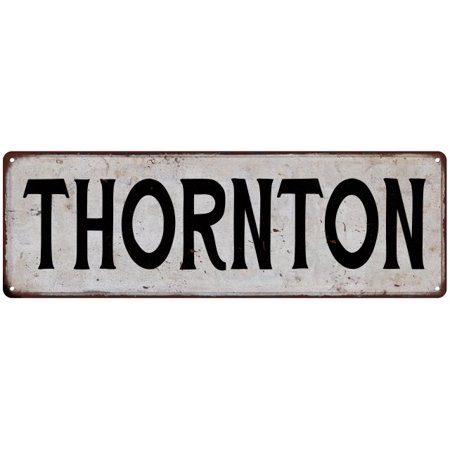 THORNTON Vintage Look Rustic Metal 8x24 Sign City State 108240041205 - Party City Thornton