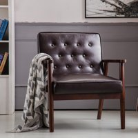 Zimtown Mid-Century Retro Modern Accent Chair Wooden Arm Upholstered Tufted Back Lounge Chairs  Brown