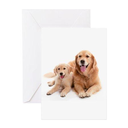 CafePress - Golden Retriever Buddies - Greeting Card, Blank Inside Glossy Golden Retriever Note Cards