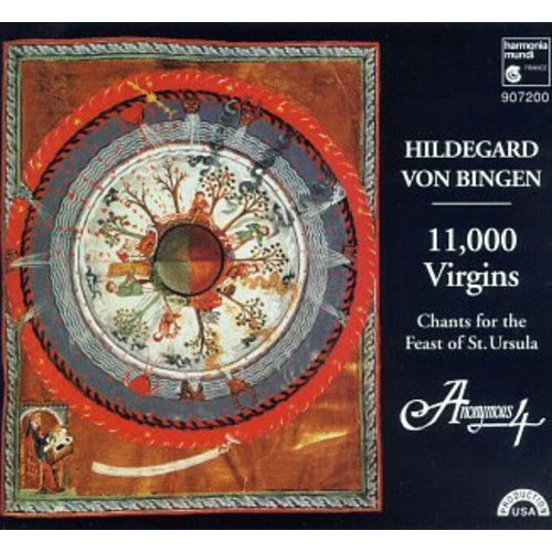 This program is also available on cassette as Harmonia Mundi 407200.<BR>This selection is also available on Super Audio CD format.<BR>It might be said that if there had been no Hildegard von Bingen someone would have had to invent her, but, if she had been invented, no one would have believed it.  And yet, what is more remarkable: that this Benedictine nun founded two convents, authored books of history, language, medicine and poetry, painted, had strange visions and challenged the seats of power, or, that nearly a thousand years after her birth she has suddenly become the best-known composer of the Medieval world?<BR>Hildegard's seventy-odd musical compositions, published as the 'Symphony of the Harmony of Celestial Revelations' are all monophonic sacred vocal works, but they are chants with a twist.  Full of brilliant poetic images, they feature wide ranging, ornamented melodies and surprising leaps, creating a mood that might be called ecstatic.  11,000 VIRGINS places seven of these in the context of a program of chants for the feast of Saint Ursula.  Anonymous Four sings them with their characteristic, almost uncanny purity, adding occasional drones and harmonies to vary the texture.