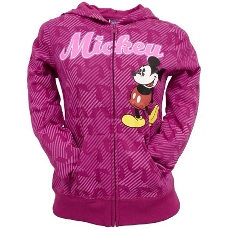 Mickey Mouse - All-Over Ribbons Girls Youth Zip Hoodie - Mickey Mouse Hoodie