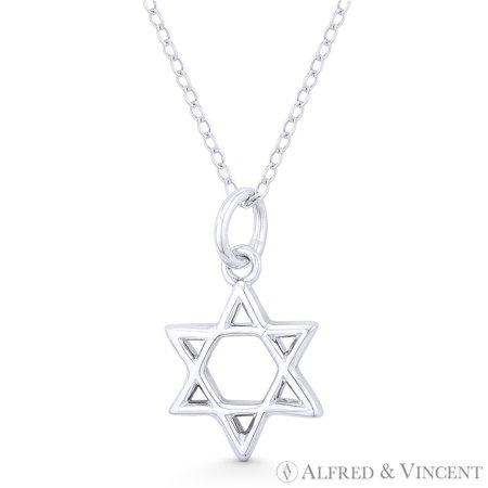 Star of David / Jewish Magen Charm Pendant & Chain Necklace in .925 Sterling Silver