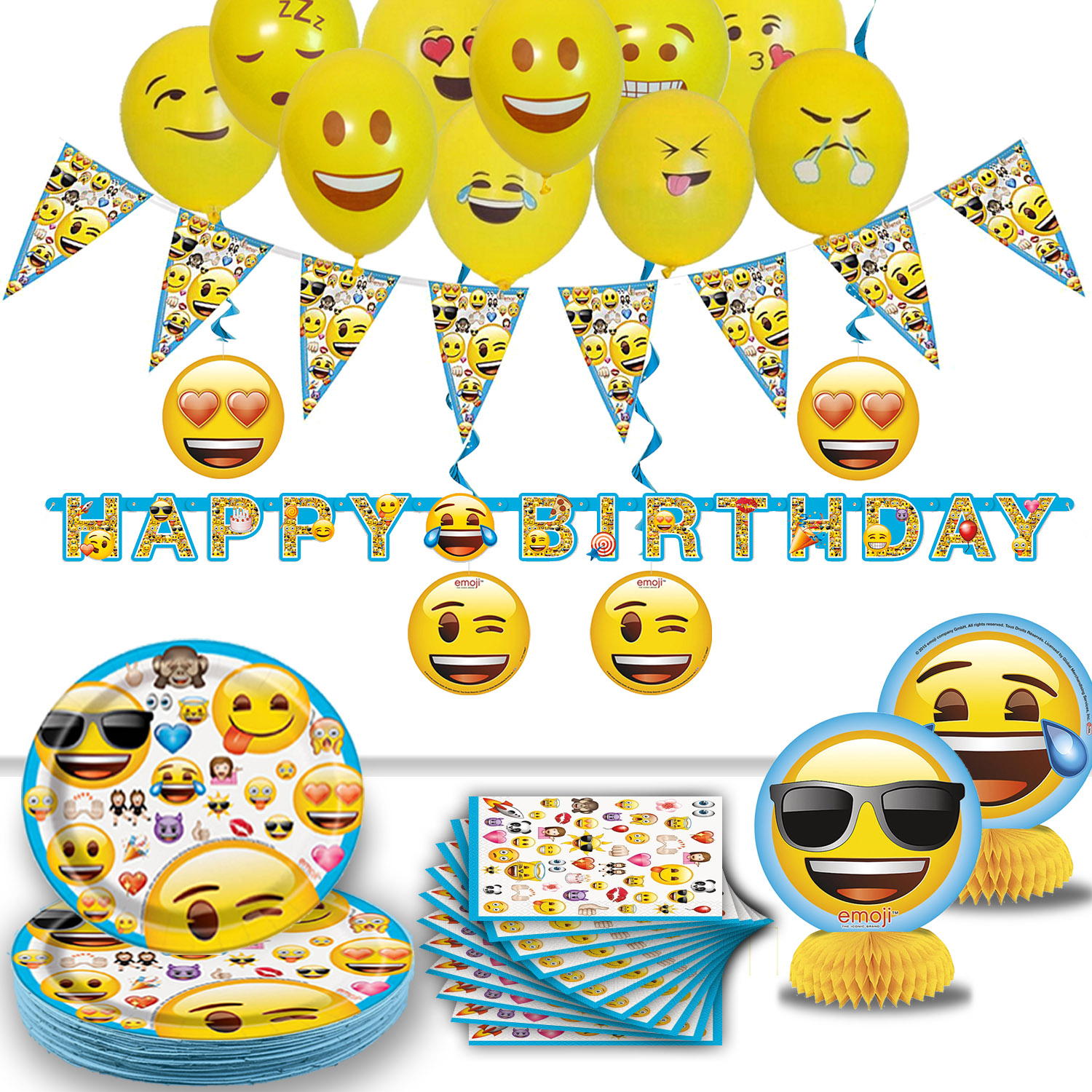 Emoji Birthday Party -16 Guest- Supplies, Decorations, Balloons - Plates, Napkins, Happy Birthday Banner, Pennant Banner, Hanging Swirls, Emoji Balloons, Table Centerpieces. Emoji Tableware & Deco
