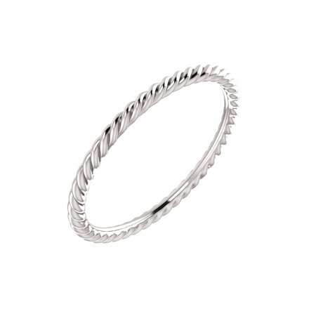 Gemstone Rope Ring - Jewels By Lux 10K White Gold Skinny Rope Bridal Wedding Ring Band Size 7