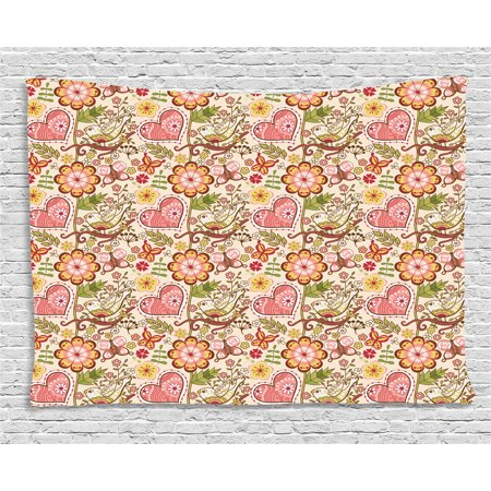 Floral Tapestry, Lovely Daisies Butterfly Celebration Petals Hearts Blooms Girlish Print, Wall Hanging for Bedroom Living Room Dorm Decor, 60W X 40L Inches, Coral Peach Ruby Yellow, by Ambesonne