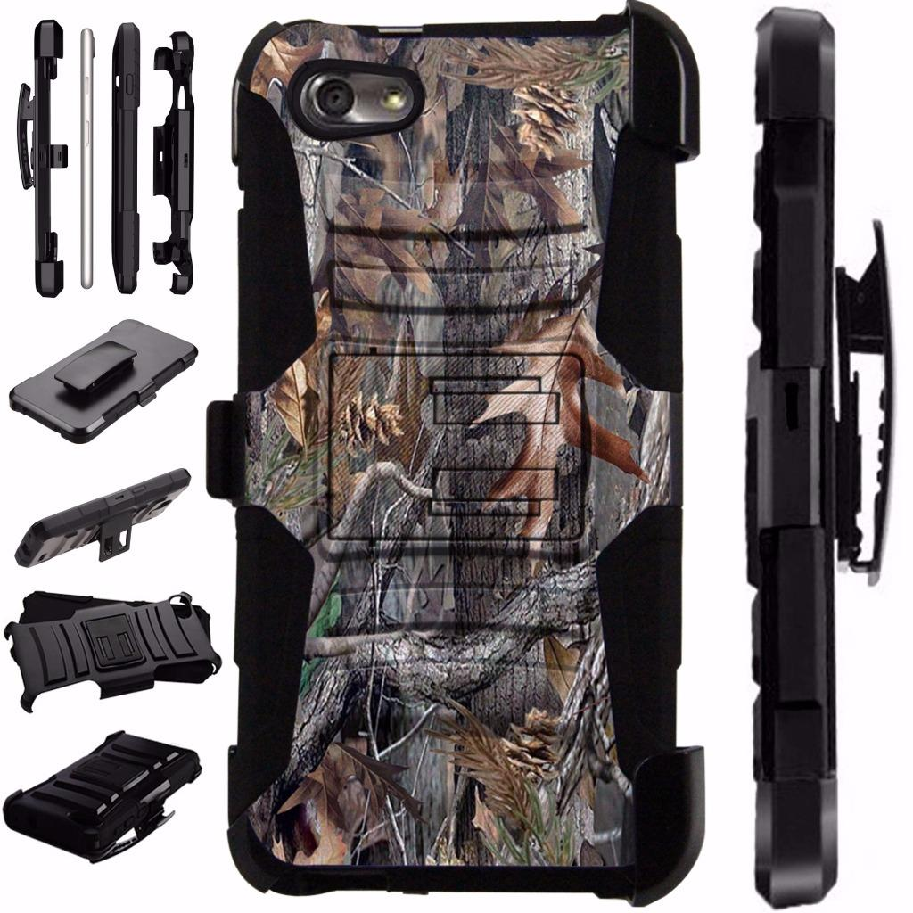 For ZTE ZFive G LTE / ZFive C / Avid 4 / Fanfare 3 / Blade Vantage / Tempo X / Tempo Go Case Armor Hybrid Phone Cover Stand LuxGuard Holster (Camo Tree)